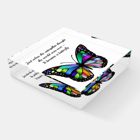 Inspirational Butterfly Quote Paperweight