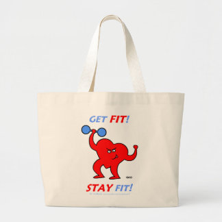 Inspirational Cartoon Heart Fitness Totebag Large Tote Bag