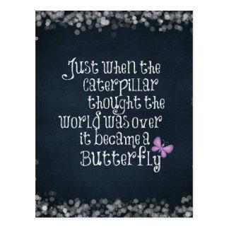 Inspirational Caterpillar Butterfly Quote Postcard