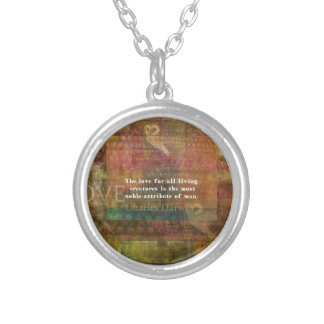 Inspirational Charles Darwin Animal Rights Quote Silver Plated Necklace
