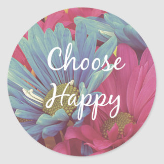 Inspirational Choose Happy Quote Affirmation Classic Round Sticker
