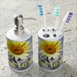 Inspirational Choose to Shine Quote with Sunflower Bath Set