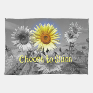 Inspirational Choose to Shine Quote with Sunflower Kitchen Towels