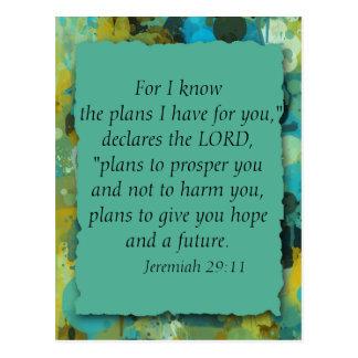 Inspirational Christian Bible God's Plans Postcard