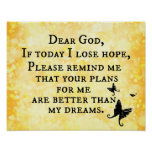 Inspirational Christian Quote: Dear God Poster