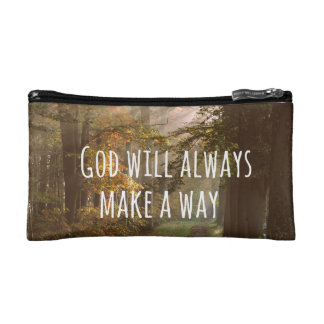 Inspirational Christian Quote: God Will Cosmetic Bags