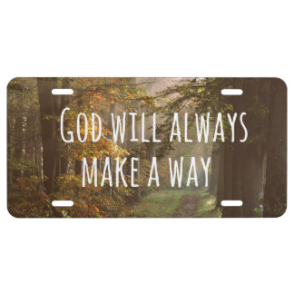 Inspirational Christian Quote: God Will License Plate