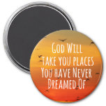 Inspirational Christian Quote: God Will 3 Inch Round Magnet