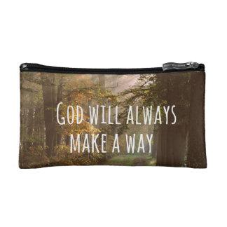 Inspirational Christian Quote: God Will Makeup Bag