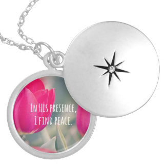 Inspirational Christian Quote God's Peace Locket Necklace
