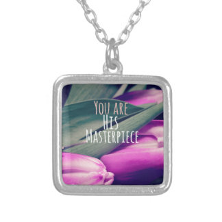 Inspirational Christian Quote His Masterpiece Square Pendant Necklace