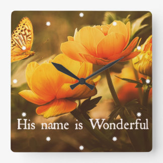 Inspirational Christian Quote: His Name is Square Wall Clock