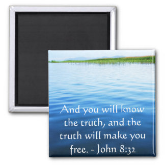 Inspirational Christian Quote - John 8:32 2 Inch Square Magnet
