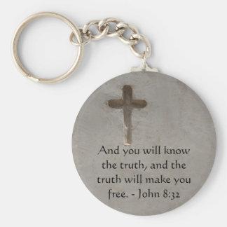 Inspirational Christian Quote - John 8:32 Basic Round Button Keychain