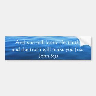 Inspirational Christian Quote - John 8:32 Car Bumper Sticker