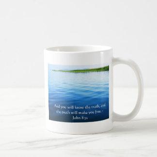Inspirational Christian Quote - John 8:32 Classic White Coffee Mug
