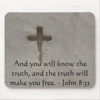 Inspirational Christian Quote - John 8:32 Mouse Pad