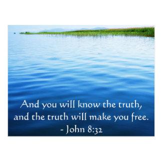 Inspirational Christian Quote - John 8:32 Postcard