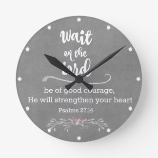 Inspirational Christian: Wait on The Lord Verse Round Clock