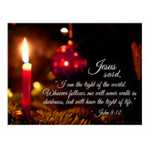Inspirational Christmas Bible Verse, John 8:12 Postcard