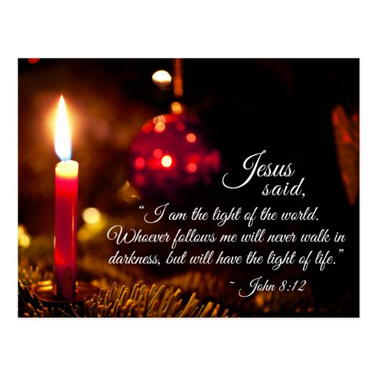 inspirational christmas bible verse john 8 12 postcard. Black Bedroom Furniture Sets. Home Design Ideas