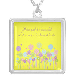 Inspirational Colorful Flowers Customizable Yellow Silver Plated Necklace