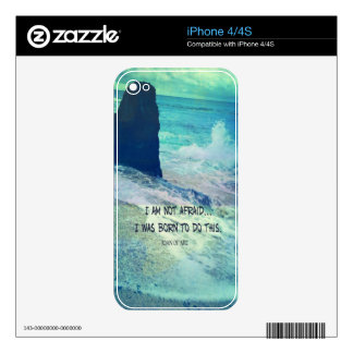 Inspirational courage quote JOAN OF ARC sea ocean iPhone 4S Skin