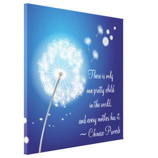 Inspirational Dandelion for Mother Wrapped Canvas