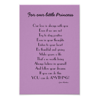 Inspirational Daughter poem from Parents Poster