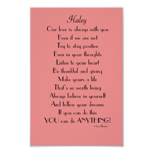 Inspirational Daughter poem from Parents Print