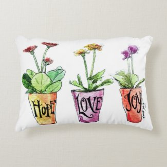 Inspirational decor hope love joy purple pillow