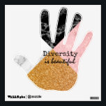 """Inspirational Diversity is Beautiful Wall Decal<br><div class=""""desc"""">Hand shape wall decal done in a patchwork of gold glitter,  pink glitter,  black marble and white marble looks.  Black text,  in the middle of the hand,  reads Diversity is beautiful.  Wonderful timely inspirational message.  Great for work and school environments.</div>"""