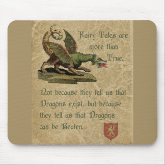 Inspirational Dragon Quote Antique Parchment Mouse Pad