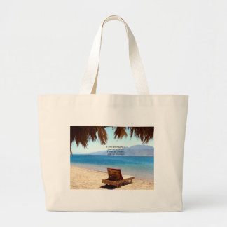 Inspirational DREAM quote with scenic beach photo Tote Bags