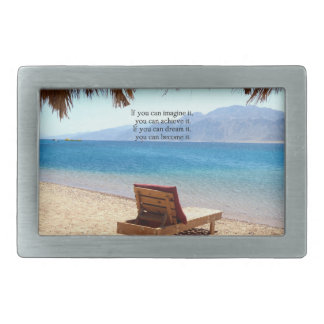 Inspirational DREAM quote with scenic beach photo Rectangular Belt Buckle