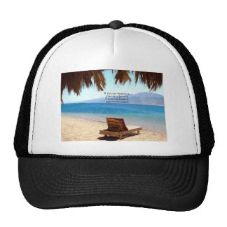 Inspirational DREAM quote with scenic beach photo Hats
