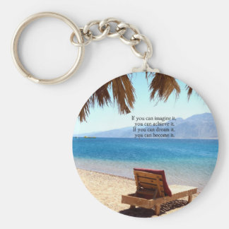 Inspirational DREAM quote with scenic beach photo Keychain