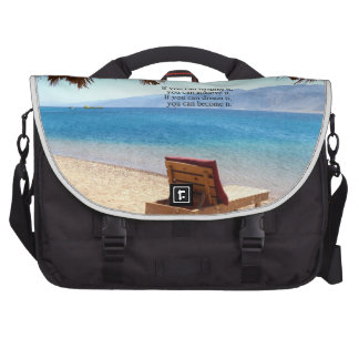 Inspirational DREAM quote with scenic beach photo Laptop Computer Bag