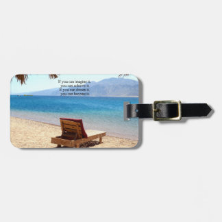 Inspirational DREAM quote with scenic beach photo Bag Tags
