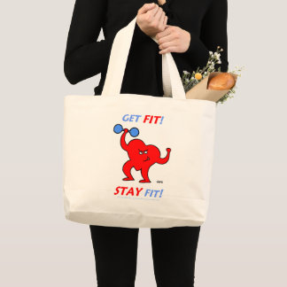 Inspirational Exercising Cartoon Heart Fitness Large Tote Bag