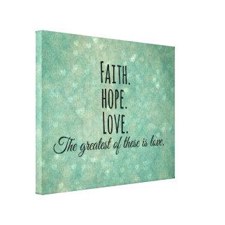 Inspirational Faith Hope Love Bible Verse Canvas Print