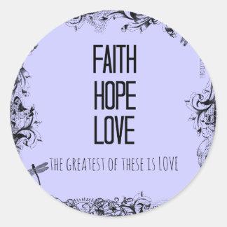Inspirational Faith Hope Love Bible Verse Classic Round Sticker