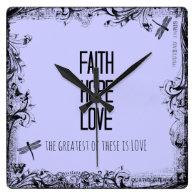 Inspirational Faith Hope Love Bible Verse Square Wallclocks