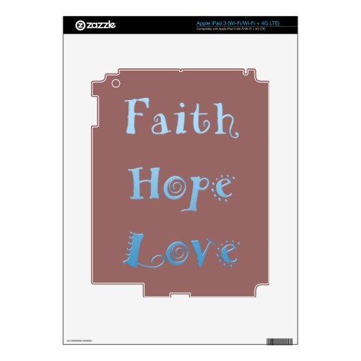Inspirational Faith, Hope, Love Decals For iPad 3