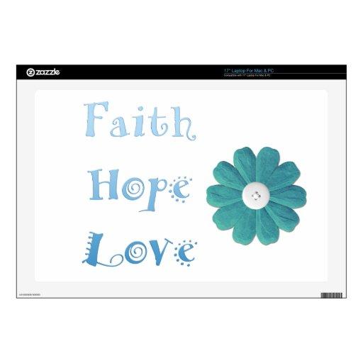 """Inspirational Faith, Hope, Love Skins For 17"""" Laptops"""