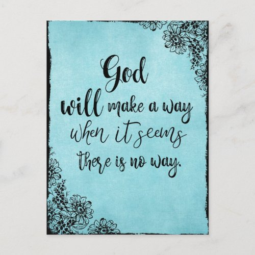 Inspirational Faith Quote  God will Make a Way Postcard