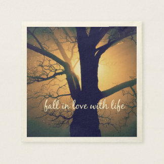Inspirational Fall in Love with Life Quote Paper Napkin