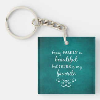 Inspirational Family Quote Double-Sided Square Acrylic Keychain