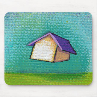 Inspirational flying house traveling home fun art mouse pad