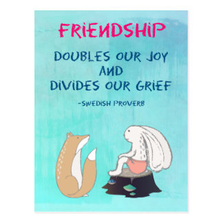 Inspirational Friendship QuoteCute Animal Sketch Postcard